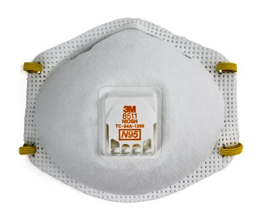 A picture of a single use 3M N95 respirator mask